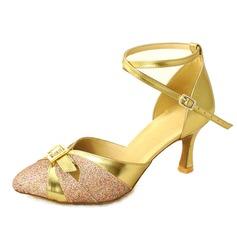 Women's Leatherette Sparkling Glitter Heels Pumps Modern With Rhinestone Buckle Dance Shoes