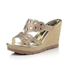 Couro Plataforma Sandálias Calços Peep toe com Strass sapatos
