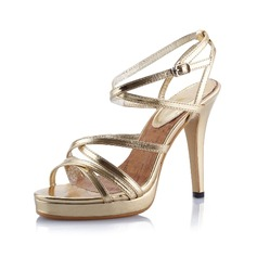 Leatherette Stiletto Heel Sandals Platform Peep Toe With Buckle shoes