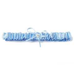 Classic Satin With Ribbons Pearl Wedding Garters