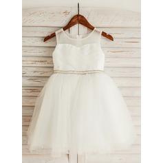 A-Line/Princess Knee-length Flower Girl Dress - Tulle Sleeveless Scoop Neck