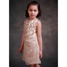 A-Line/Princess Knee-length Flower Girl Dress - Tribute silk/CVC Sleeveless Scoop Neck With Beading