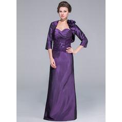Sheath/Column Sweetheart Floor-Length Taffeta Mother of the Bride Dress With Lace Beading