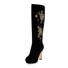 Suede Chunky Heel Platform Knee High Boots With Flower shoes