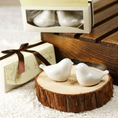 """Love Birds In The Window"" Ceramic Salt & Pepper Shakers With Ribbons (Set of 2)"