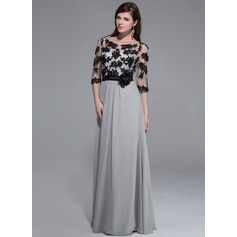 A-Line/Princess Scoop Neck Floor-Length Chiffon Evening Dress With Appliques Lace Flower(s)