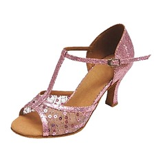 Women's Leatherette Heels Sandals Latin Ballroom With T-Strap Sequin Dance Shoes