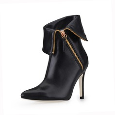 Leatherette Stiletto Heel Closed Toe Ankle Boots With Chain (088017136)