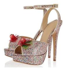 Leatherette Sparkling Glitter Stiletto Heel Sandals Platform With Flower shoes
