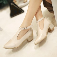 Women's Leatherette Chunky Heel Closed Toe With Buckle shoes