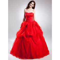 Ball-Gown Sweetheart Chapel Train Organza Wedding Dress With Ruffle Beading Flower(s)