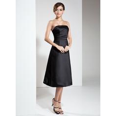 A-Line/Princess Strapless Knee-Length Satin Bridesmaid Dress With Ruffle