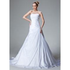 A-Line/Princess Sweetheart Court Train Taffeta Wedding Dress With Ruffle Lace Beading