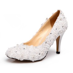 Women's Satin Cone Heel Closed Toe Pumps With Imitation Pearl Rhinestone Satin Flower
