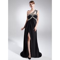 A-Linie/Princess-Linie One-Shoulder-Träger Sweep/Pinsel zug Chiffon Kleid für die Brautmutter mit Rüschen Perlen verziert
