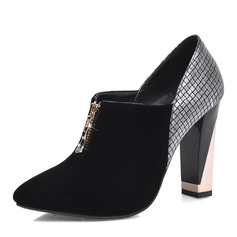 Women's Suede Leatherette Chunky Heel Pumps Closed Toe Boots Ankle Boots With Zipper shoes