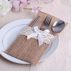 Simple Linen Cutlery Bag With Ribbons  (051063410)