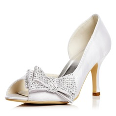 Women's Satin Stiletto Heel Peep Toe Pumps Sandals With Bowknot Rhinestone