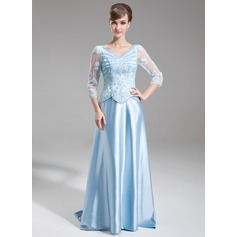 Corte A/Princesa Escote en V Barrer/Cepillo tren Charmeuse Vestido de madrina con Bordado Los appliques Encaje Lentejuelas