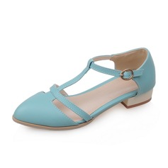 Women's Leatherette Flat Heel Flats Closed Toe With Buckle shoes (086094928)