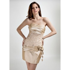 Sheath/Column Sweetheart Short/Mini Taffeta Homecoming Dress With Ruffle Beading Flower(s)