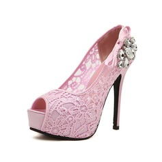 Lace Stiletto Heel Sandals Platform Peep Toe With Rhinestone shoes