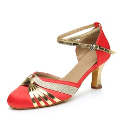 Women's Satin Leatherette Heels Pumps Modern With Ankle Strap Dance Shoes