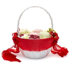 Pretty Flower Basket in Satin With Sash
