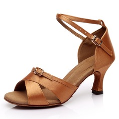 Women's Satin Heels Latin With Ankle Strap Buckle Dance Shoes