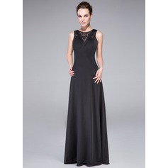 A-Line/Princess Scoop Neck Floor-Length Jersey Evening Dress With Ruffle