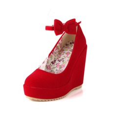 Women's Leatherette Wedge Heel Closed Toe Wedges With Bowknot shoes