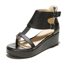 Leatherette Wedge Heel Sandals Platform With Buckle Zipper shoes