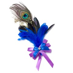 Classic Free-Form Ribbon/Feather Boutonniere/Men's Accessories