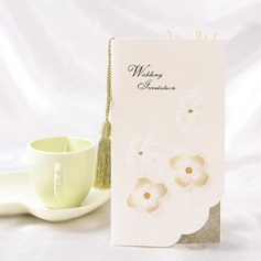 Floral Style Tri-Fold Invitation Cards With Tassels