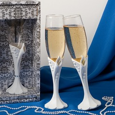 Sculpted Calla Lily Design Toasting Flutes