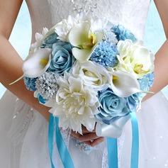Элегантные Круглый Атлас/ЧП/горный хрусталь/Шелковые белье Свадебные букеты/Невесты Букеты (123090508)