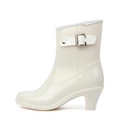 المرأة PVC كعب مكتنز الأحذية أحذية منتصف العجل أحذية المطر مع مشبك أحذية (088127032)
