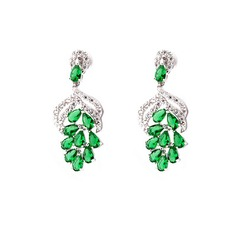 Leaves Shaped Zircon/Platinum Plated Ladies' Earrings