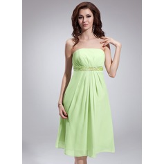 Empire Strapless Knee-Length Chiffon Bridesmaid Dress With Ruffle Beading Sequins