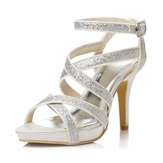Women's Satin Stiletto Heel Sandals With Buckle Rhinestone