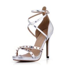 Leatherette Stiletto Heel Sandals Pumps Peep Toe With Rivet Buckle shoes