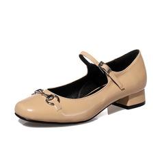 Women's Leatherette Chunky Heel Closed Toe shoes