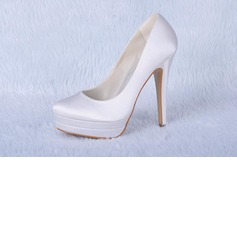 Satin Stiletto Heel Closed Toe Platform Pumps Wedding Shoes (047024175)