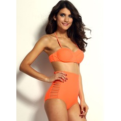 Neon Orange Summer High-waisted Slits Bikini