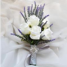 Kiehtova Vapaamuotoinen Keinotekoinen silkki Morsiamen kukkakimppuihin/Morsiusneito Kukkakimppuihin - (123105304)