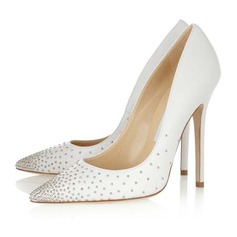 Suede Stiletto Heel Pumps Closed Toe With Rhinestone shoes