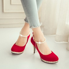 Women's Suede Stiletto Heel Pumps Platform Closed Toe With Imitation Pearl shoes