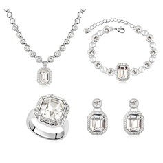 Elegant Crystal/Platinum Plated Women's Jewelry Sets