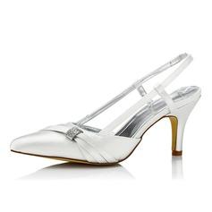 Women's Satin Stiletto Heel Pumps Slingbacks Dyeable Shoes