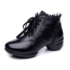 Women's Real Leather Boots Salsa Practice With Lace-up Dance Shoes (053065358)